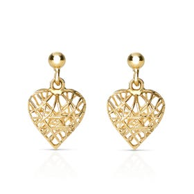 9ct Gold Caged Heart Stud Earrings