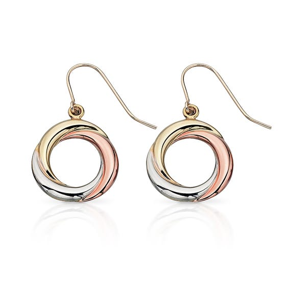 9ct Gold Tri-Colour Russian Ring Style Earrings
