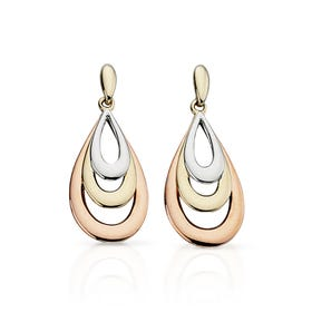 9ct Gold Tri-Colour Teardrop Earrings
