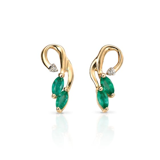 9ct Gold Emerald & Diamond Vine Earrings