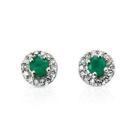 9ct White Gold Emerald & Diamond Round Earrings