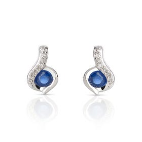 9ct White Gold Sapphire & Diamond Swirl Earrings