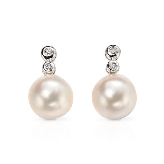 9ct White Gold Pearl & Diamond Earrings