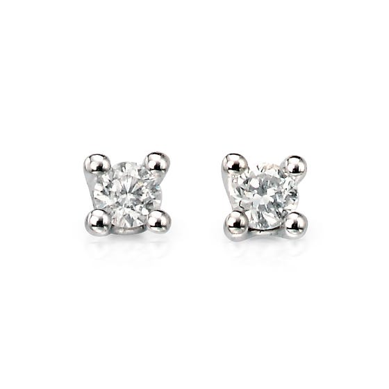 9ct White Gold Solitaire 0.15ct Diamond Earrings