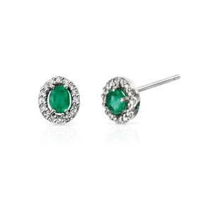9ct White Gold Emerald & Diamond Earrings