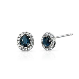 9ct White Gold Blue Sapphire & Diamond Cluster Earrings