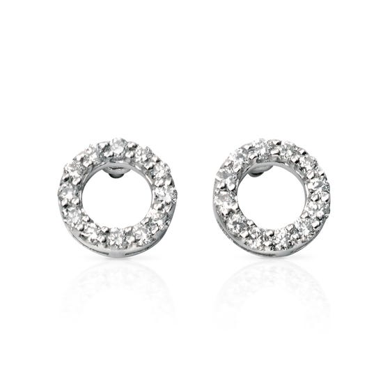 9ct White Gold Open Circle Pave Earrings