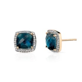9ct Gold Blue Topaz Earrings with Diamond Surround