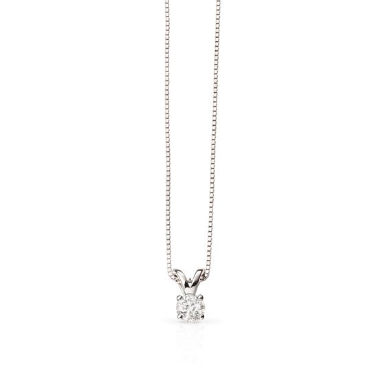 9ct White Gold 0.25ct Diamond Solitaire Necklace