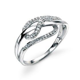 9ct White Gold Diamond Loop Ring