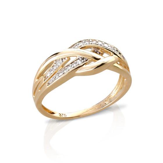 9ct Gold Diamond Criss-cross Ring