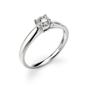 9ct White Gold Diamond Halo Ring