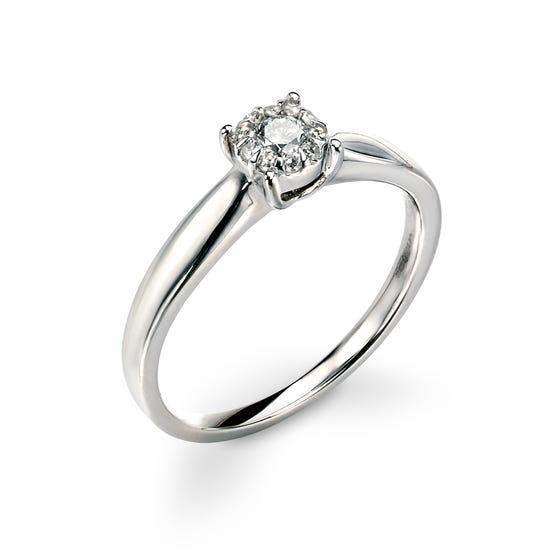 9ct White Gold Diamond Halo Ring