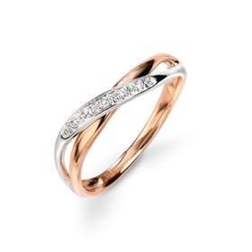 9ct White & Rose Gold Diamond Twist Ring