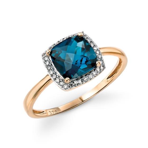 9ct Gold Blue Topaz & Diamond Ring