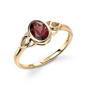 9ct Gold Garnet Celtic Style Ring