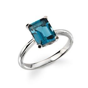 9ct White Gold Dark Blue Topaz Ring