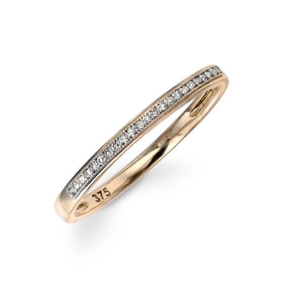 9ct Gold Pave Set Diamond Ring