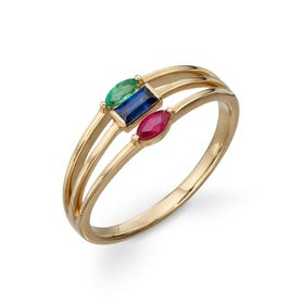 9ct Gold Ruby, Sapphire & Emerald Triple Band Ring
