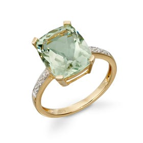 9ct Gold Green Amethyst & Diamond Ring