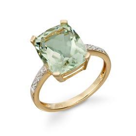 9ct Gold Green Amethyst & Diamond Ring