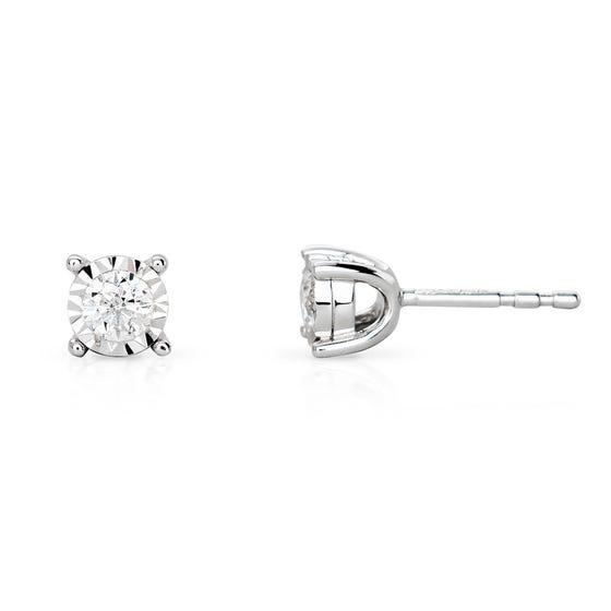 9ct White Gold Illusion Set 0.25ct Diamond Earrings