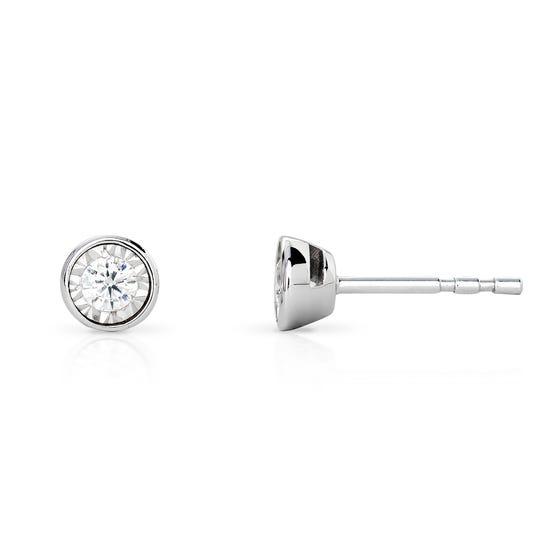 9ct White Gold Rubover Illusion Set 0.16ct Diamond Earrings