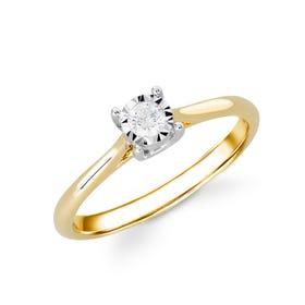 9ct Yellow Gold Illusion Set 0.10ct Diamond Ring