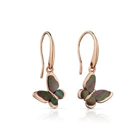 Rosa Rose Gold Plated Silver Butterfly Drop Earrings