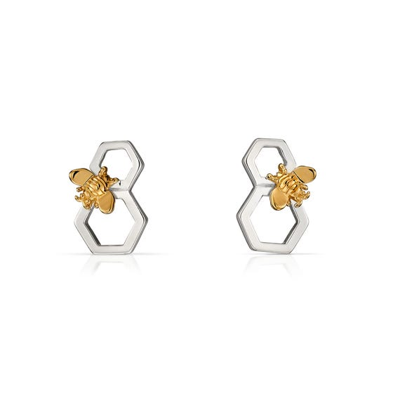 Meadow Silver Honeycomb Bee Earrings with Gold Plating