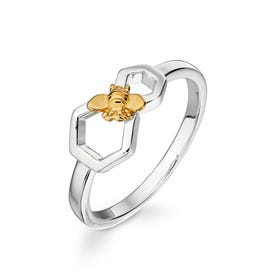 Meadow Silver Honeycomb Bee Ring with Gold Plating