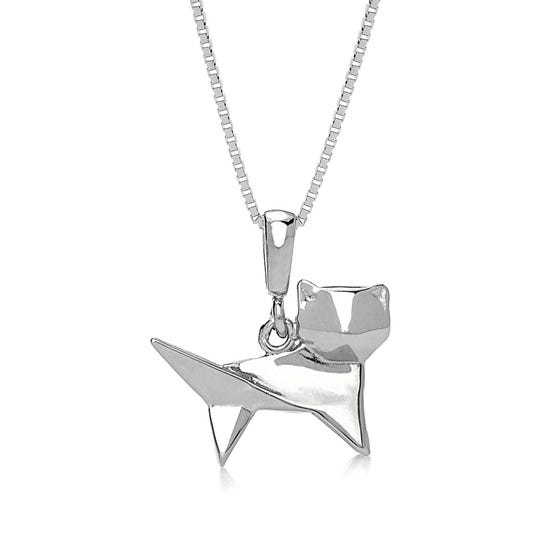 Kitty Rhodium Plated Silver Necklace