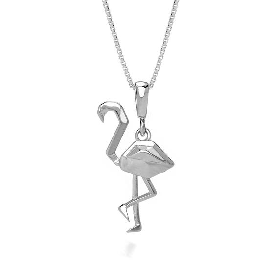 Flamingo Rhodium Plated Silver Necklace