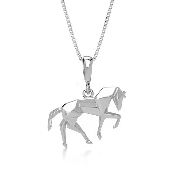 Pony Rhodium Plated Silver Necklace