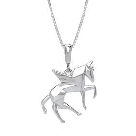 Pegasus Rhodium Plated Silver Necklace