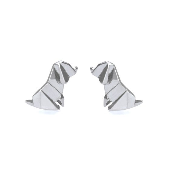 Origami Safari Pooch Rhodium Plated Silver Stud Earrings