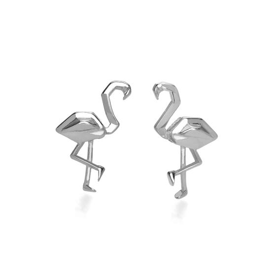 Origami Safari Flamingo Rhodium Plated Silver Stud Earrings
