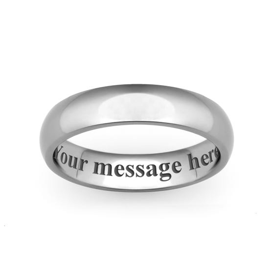 Personalised Engraved Titanium Court 6mm Ring