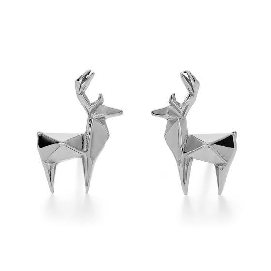 Origami Safari Deer Rhodium Plated Silver Stud Earrings