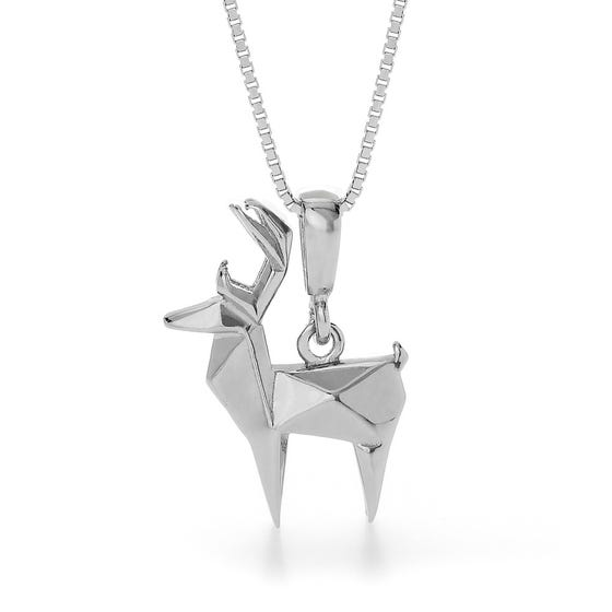 Deer Rhodium Plated Silver Necklace