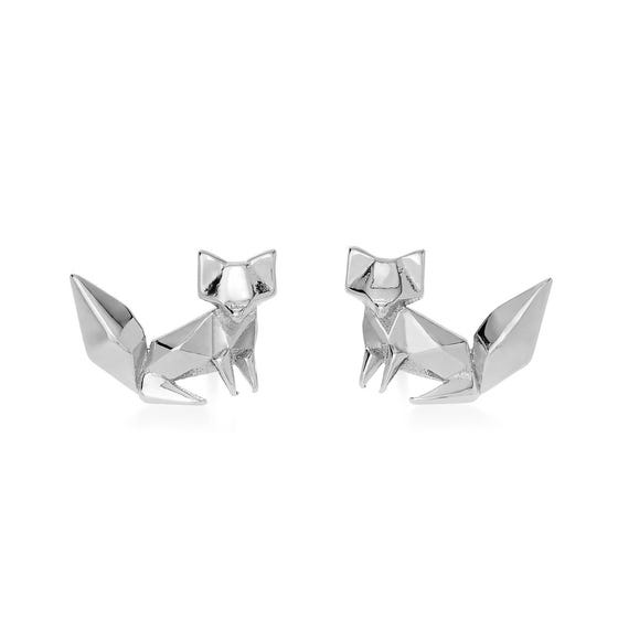 Origami Safari Fox Rhodium Plated Silver Stud Earrings