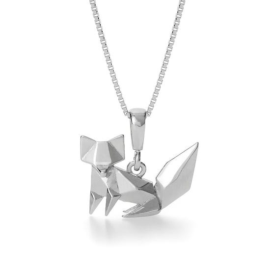 Fox Rhodium Plated Silver Necklace