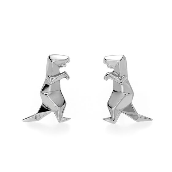 Origami Safari Dinosaur Rhodium Plated Silver Stud Earrings