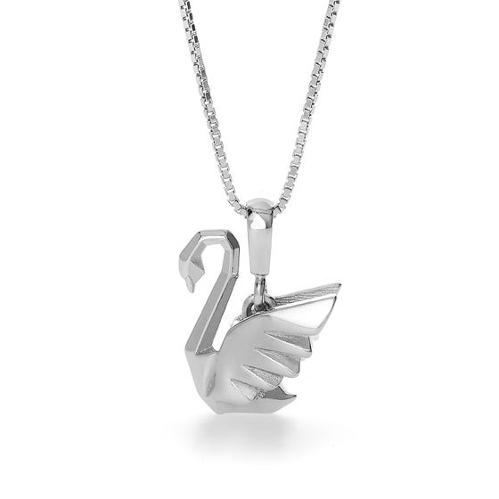 Swan Rhodium Plated Silver Necklace