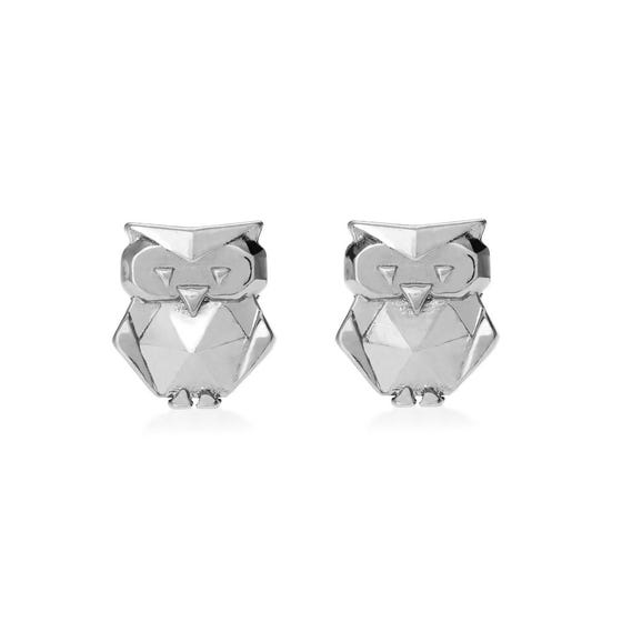 Origami Safari Owl Rhodium Plated Silver Stud Earrings