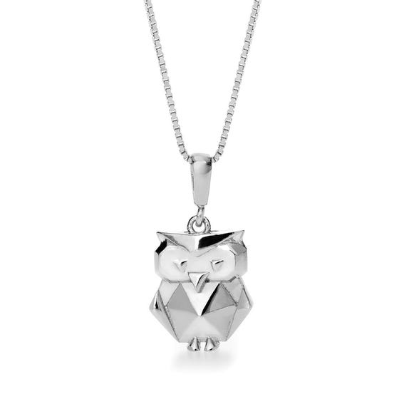 Owl Rhodium Plated Silver Necklace