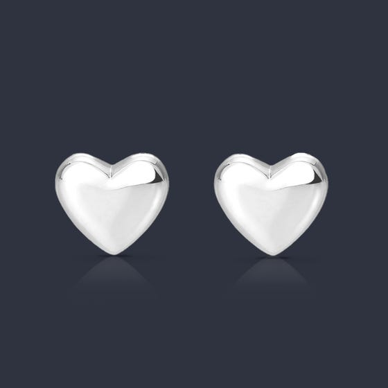 Muse Heart Silver Stud Earrings