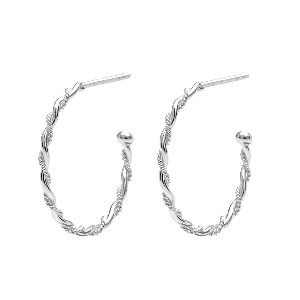 John Greed Spun Silver Twist Hoop Earrings