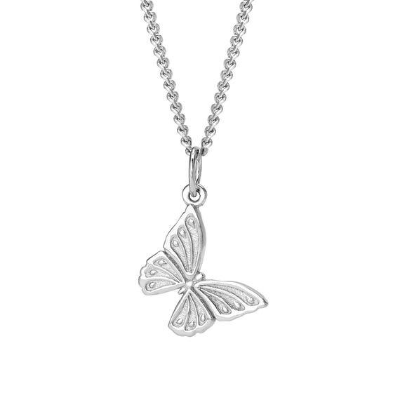 Meadow Silver Beautiful Butterfly Necklace