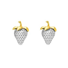 Serre Silver Strawberry Stud Earrings